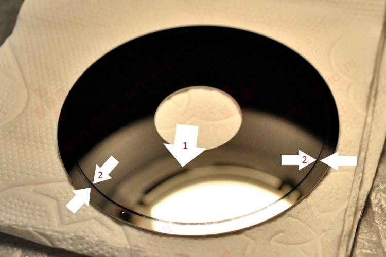 Царапины и запилы на поверхности магнитного диска
